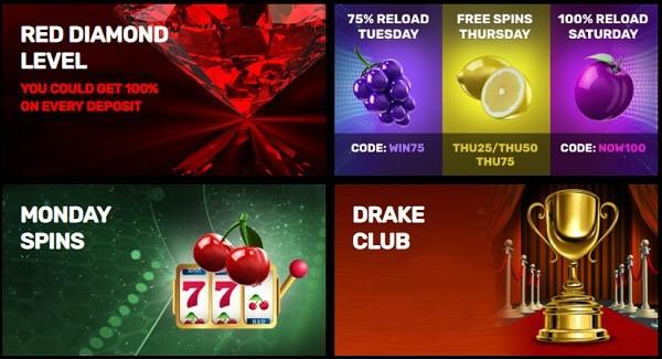 Drake Casino promotions, cashback, tournaments, VIP rewards
