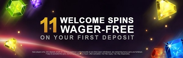 11 free spins on first deposit
