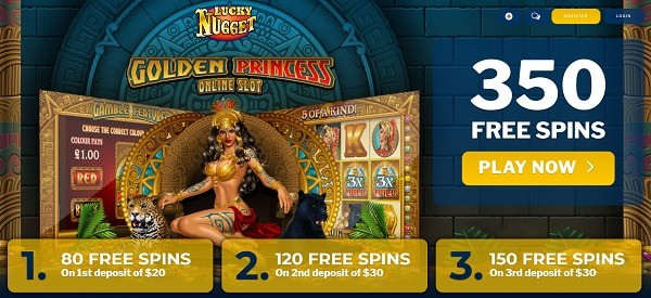 Get 350 free spins on Golden Princess slot