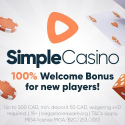 Simple Casino Review: 100% bonus, fast payout, no wagering
