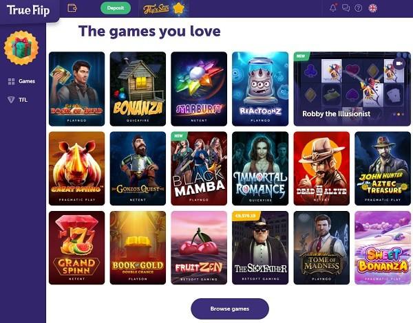 True Flip Casino website