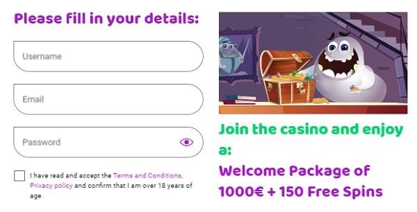 Register at Boo and grab 1000 eur welcome bonus plus 150 gratis spins