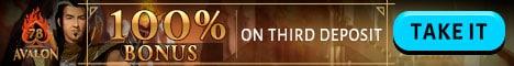 Avalon78.com 100% bonus on deposit