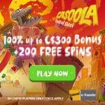 Casoola Casino 200 gratis spins and €1,500 free bonus (codes)