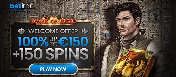 150 freespins and 100% match bonus on 1st deposit