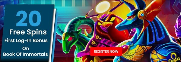 20 free spins on Book of Immortals