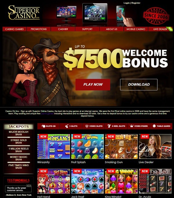 Superior Casino download, mobile games, jackpot slots, live dealer