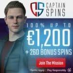 Captain Spins Casino 260 gratis spins and 100% free bonus