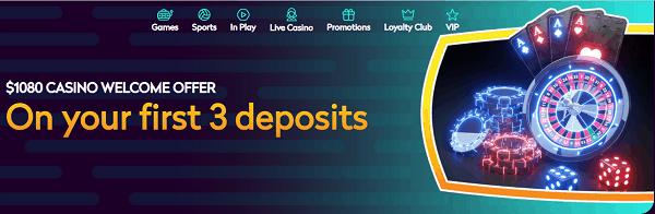 Casino Bonus: 100% up to $1080