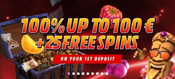 100% bonus + 25 free spins + 100 EUR gratis