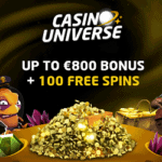 Casino Universe 100 gratis spins and 800€ free cash bonus