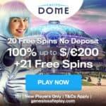 Casino Dome - 20 Free Spins Bonus No Deposit Required
