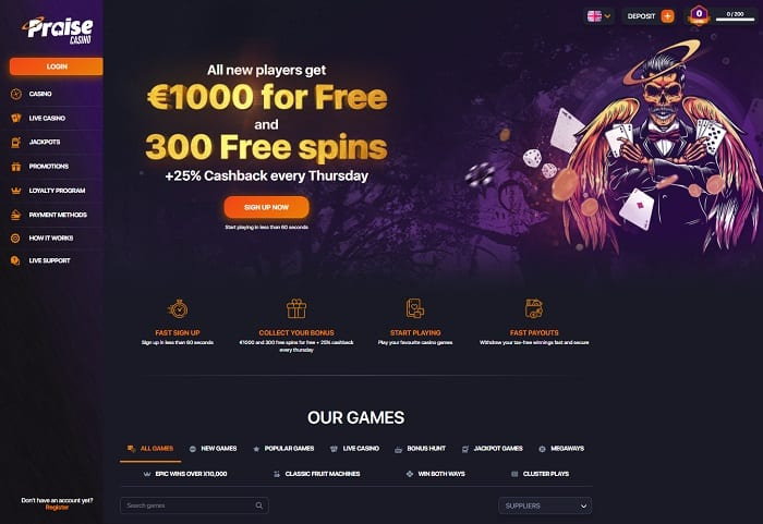 1000 EUR and 300 free spins