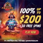 Casino Masters 30 free spins and 100% up to €200 free bonus