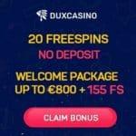 Dux Casino 20 no deposit free spins bonus on Fire Joker