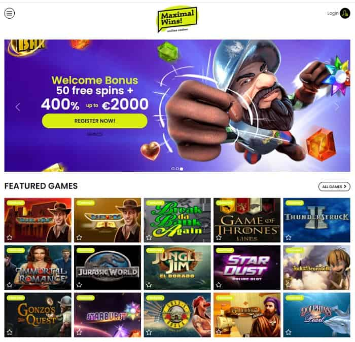 2000 EUR and 50 free spins on first deposit