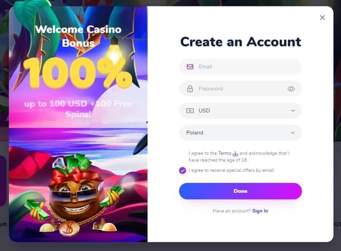 Cocos 100% bonus