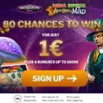 80 chances free spins bonus on €1 deposit at JackpotCity!