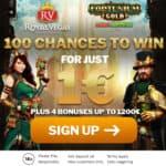 Get 100 chances free spins on $1 deposit at Royal Vegas!