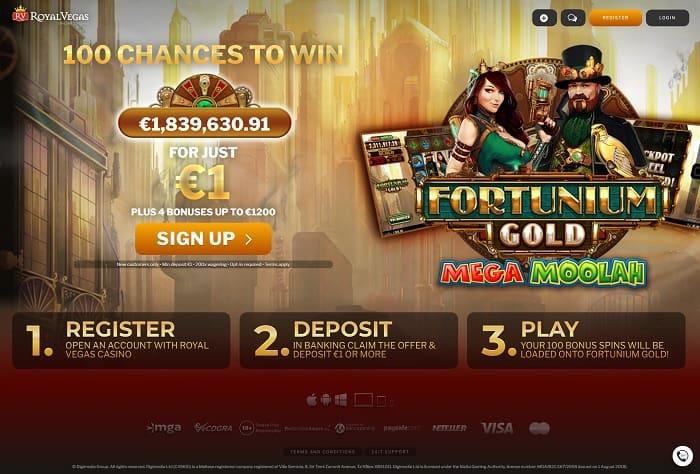 Royal Vegas $1 deposit 100 free spins